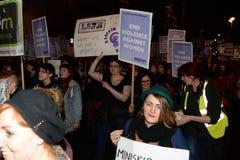 Il solo marzo delle donne nel recupero di Londra la notte 2014 Immagine Stock