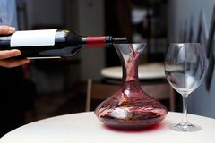 Il sommelier sta versando il vino in un decantatore fotografie stock libere da diritti