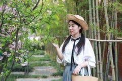 Il sorriso cinese della studentessa della High School dell'Asia di bellezza adorabile gode del gioco di tempo libero nel bambù de Fotografie Stock