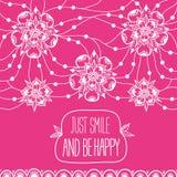 Il sorriso della cartolina d'auguri appena ed è felice Fotografie Stock Libere da Diritti