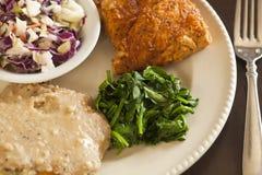 Il sostituto del pollo fritto del vegano è servito con slaw, purè di patate Fotografia Stock