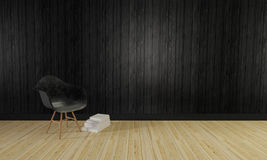 Il sottotetto e la parete di legno semplice background-3d e del salone rendono Fotografia Stock