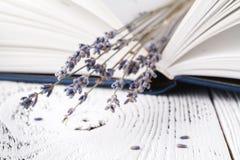Il souvenirs du ` s, un bouquet de lavande sèche et livres Images stock