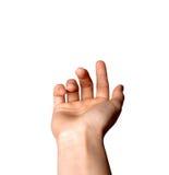 Il ` stimante curvato femminile del dito indice viene qui ` isolato su fondo bianco fotografia stock libera da diritti