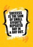 Il successo è la somma di piccoli sforzi, ripetuta ogni giorno Modello creativo d'ispirazione del manifesto di citazione di motiv illustrazione di stock