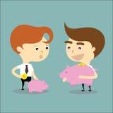 Il successo dell'uomo d'affari per risparmia i soldi nel vettore rosa del maiale Fotografia Stock Libera da Diritti