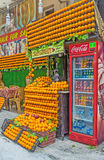 Il succo fresco arancio nel lato Immagine Stock Libera da Diritti
