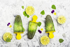 Il succo vegetariano casalingo della menta piperita dell'agrume della frutta del ghiacciolo del gelato con i semi di chia è decor fotografia stock libera da diritti