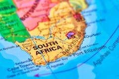 Il Sudafrica sulla mappa Fotografie Stock Libere da Diritti