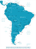 Il Sudamerica - etichette di navigazione e della mappa - illustrazione Immagine Stock Libera da Diritti