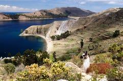 Il Sudamerica, lago Titicaca, Bolivia, paesaggio di Isla del Sol Immagine Stock Libera da Diritti