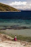 Il Sudamerica, paesaggio del lago Titicaca Fotografia Stock Libera da Diritti