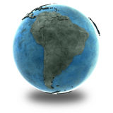 Il Sudamerica su pianeta Terra di marmo Fotografie Stock