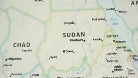 Il Sudan su una mappa con Defocus stock footage