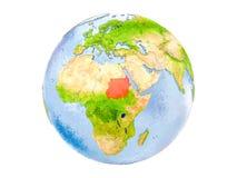 Il Sudan sul globo isolato Fotografie Stock