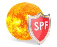 Il Sun con lo schermo, SPF protegge il concetto rappresentazione 3d illustrazione vettoriale