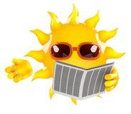 il Sun 3d legge il giornale Fotografia Stock