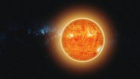 Il Sun ha acceso la terra che il moto veloce riduce lo zoom di vista fuori illustrazione di stock