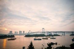 Il Sun ha messo la baia di Tokyo Fotografia Stock Libera da Diritti