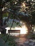 Il Sun va giù dal lago Fotografie Stock Libere da Diritti
