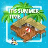 Il suo concetto di ora legale o di vacanze estive Vector la carta da parati isometrica dell'illustrazione di vettore piano 3d del Fotografia Stock Libera da Diritti