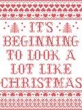 Il suo inizio da assomigliare molto al modello senza cuciture scandinavo di Natale ha ispirato entro l'inverno festivo della cult illustrazione di stock