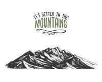 Il suoi migliori nelle montagne firmano dentro l'annata, vecchio disegnato a mano, lo schizzo, o lo stile inciso picco di montagn illustrazione vettoriale