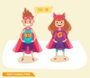 Il supereroe scherza la progettazione di caratteri delle ragazze e dei ragazzi immagini stock