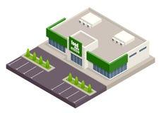 Il supermercato con parcheggio ed i carrelli Commercio al dettaglio Carta di credito s Illustrazione isometrica di vettore superm royalty illustrazione gratis