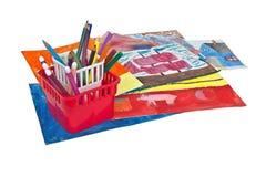 Il supporto con le matite è sui disegni Immagine Stock Libera da Diritti