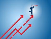 Il supporto dell'uomo d'affari sul grafico della crescita della freccia facendo uso del telescopio che cerca il successo, opportu illustrazione di stock