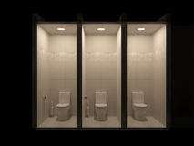 Il supporto di spazzola della toilette, distributore di carta igienica è sul pavimento nell'interno del bagno in tonalità di gray Fotografia Stock