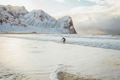 Il surfista conquista le onde dell'oceano un giorno soleggiato dell'inverno fotografie stock libere da diritti
