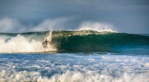 Il surfista si alza su un'onda fotografia stock