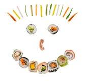 Il sushi collega nella forma felice del fronte di sorriso su fondo bianco Fotografie Stock