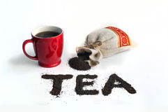 Il tè di parola è tè nero presentato della piccola foglia Immagini Stock