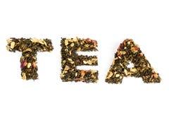 Il tè di parola compitato con tè Fotografia Stock Libera da Diritti
