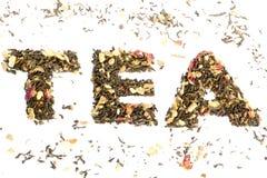 Il tè di parola compitato con tè Fotografia Stock