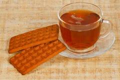 Il tè ed i biscotti della tazza Immagini Stock Libere da Diritti