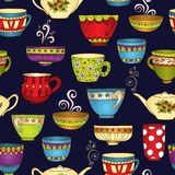 Il tè, il caffè ed i dolci scarabocchiano il modello senza cuciture Fotografia Stock Libera da Diritti