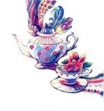 Il tè messo Illustrazione Vettoriale