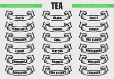 Il tè scrive le icone illustrazione di stock