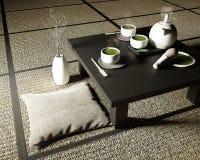 Il tè verde di matcha, bambù polvere sbatte, del cucchiaio e del tè in tavola bassa sulla stuoia di tatami rappresentazione 3d illustrazione di stock