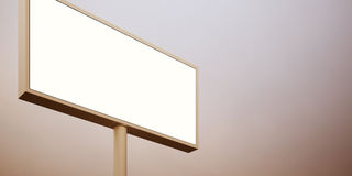 Il tabellone per le affissioni in bianco firma dentro il cielo del tramonto Largamente, fondo astratto 3d rendono Immagini Stock Libere da Diritti