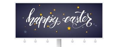 Il tabellone per le affissioni con testo scritto a mano Pasqua felice ha decorato i giocattoli dorati sulla lavagna nera Concetto illustrazione di stock