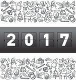 Il tabellone segnapunti meccanico di vettore numera 2017 Immagine Stock