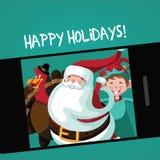 Il tacchino di ringraziamento, di Santa e l'elfo prendono un selfie di festa Immagini Stock