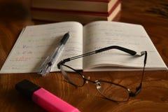 Il taccuino con la penna ed i vetri, sviluppa la memoria Immagini Stock
