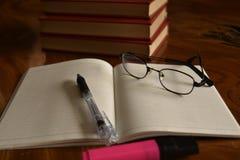 Il taccuino con la penna ed i vetri, sviluppa la memoria Immagine Stock Libera da Diritti