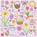 Il taccuino della sorgente di Pasqua Doodles l'insieme di vettore Fotografia Stock